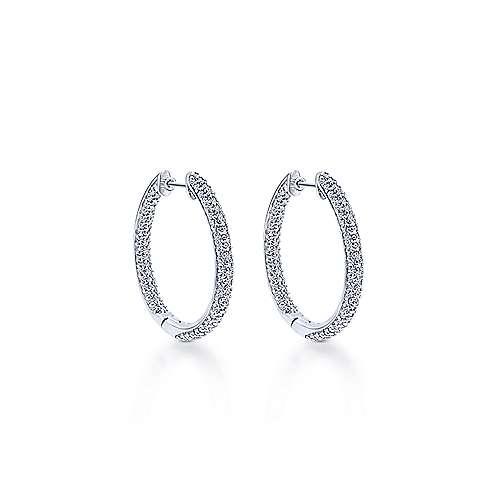14k White Gold Silk Inside Out Diamond Hoop Earrings