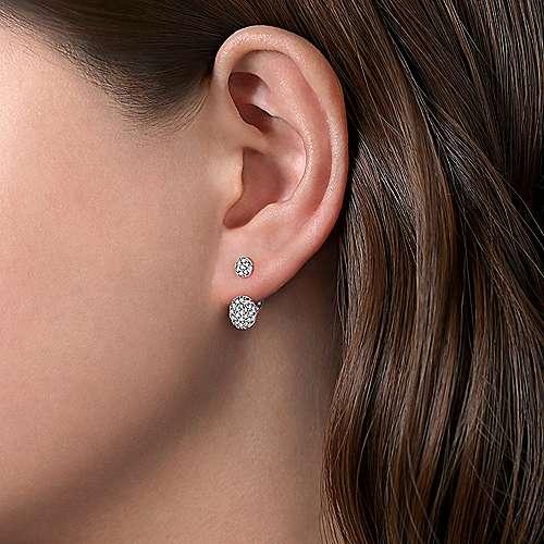 14k White Gold Silk Peek A Boo Earrings angle 2