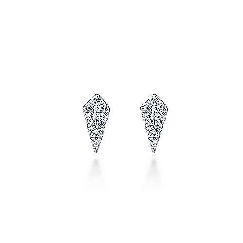 14k White Gold Silk Stud Earrings angle 1