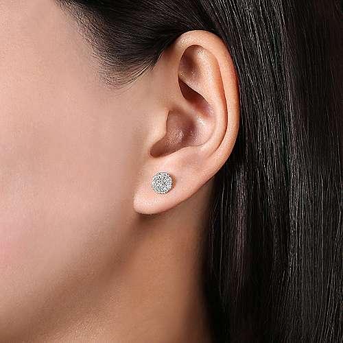 14k White Gold Silk Stud Earrings angle 2