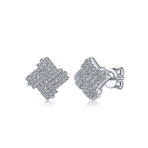 14k White Gold Silk Stud Earrings