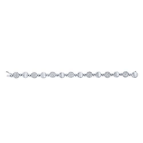 14k White Gold Silk Tennis Bracelet angle 3