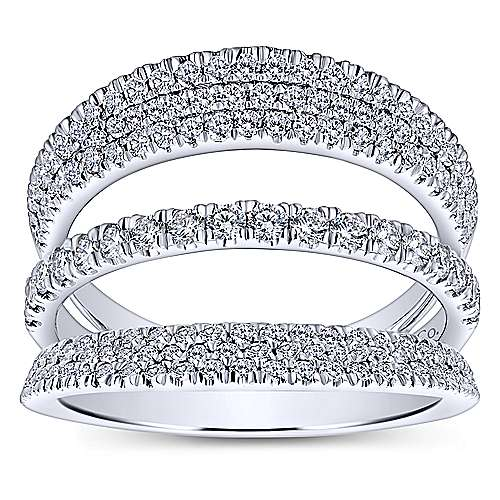 14k White Gold Silk Wide Band Ladies' Ring angle 4