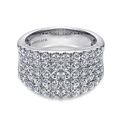 14k White Gold Silk Wide Band Ladies' Ring