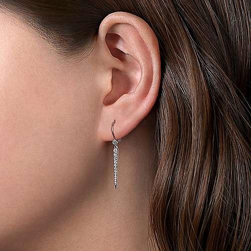14k White Gold Slender Pave Diamond Drop Earrings angle 2