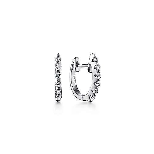 14k White Gold Slim Scalloped Diamond Huggie Earrings