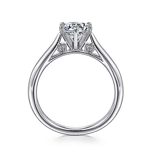 14k White Gold Solitaire Diamond Engagement Ring with Rounded Shank  angle 2