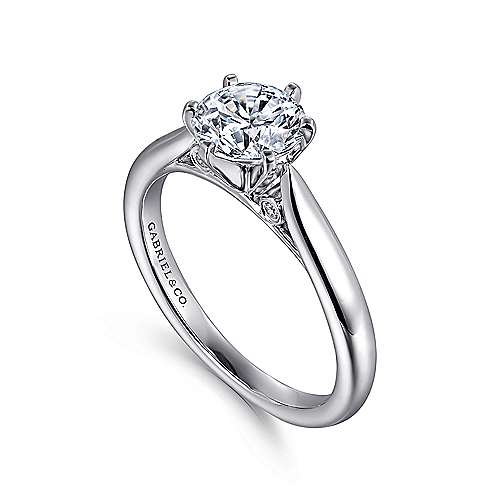 14k White Gold Solitaire Diamond Engagement Ring with Rounded Shank  angle 3