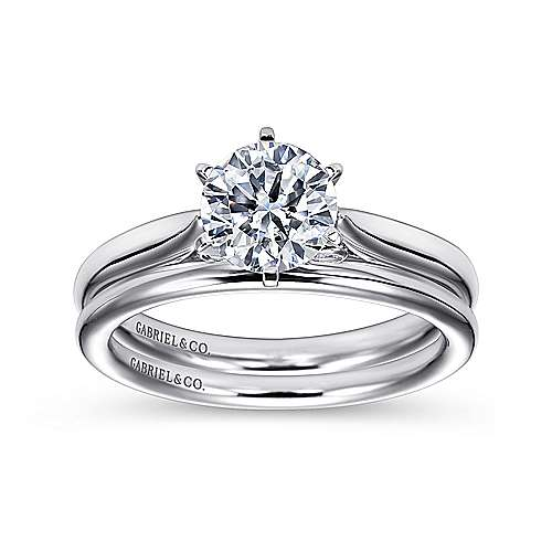 14k White Gold Solitaire Diamond Engagement Ring with Rounded Shank  angle 4