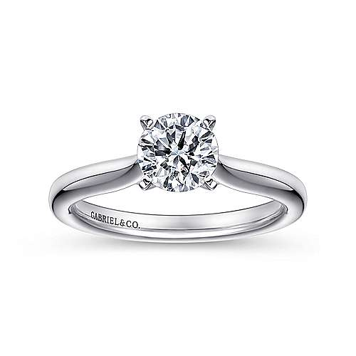 14k White Gold Solitaire Diamond Engagement Ring with Rounded Shank  angle 5