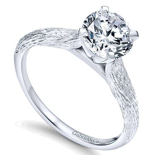 14k White Gold Solitaire Engagement Ring angle 3