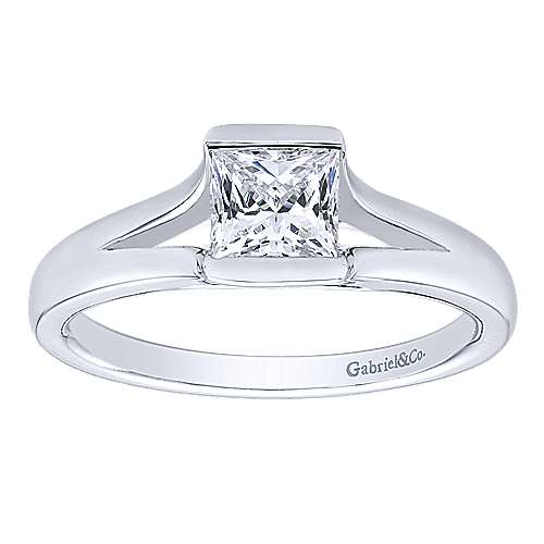 14k White Gold Solitaire Engagement Ring angle 5
