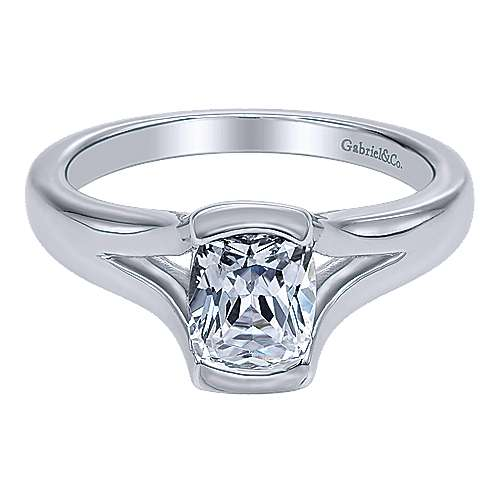 14k White Gold Solitaire Engagement Ring angle 1