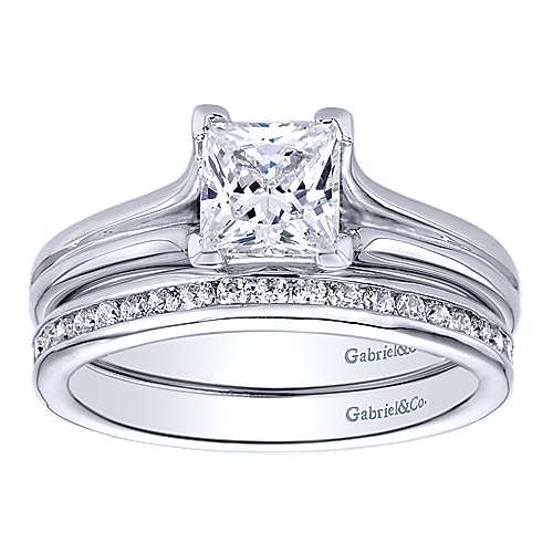 14k White Gold Solitaire Engagement Ring angle 4