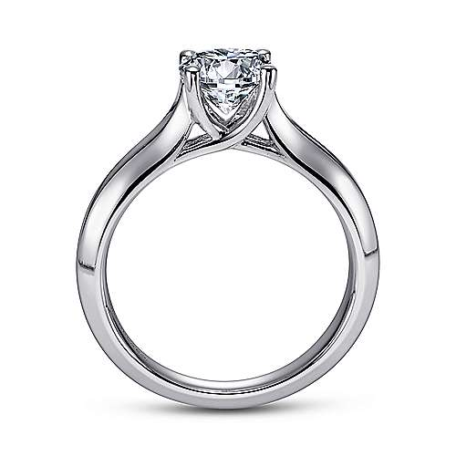 14k White Gold Solitaire Four Prong Engagement Ring angle 2