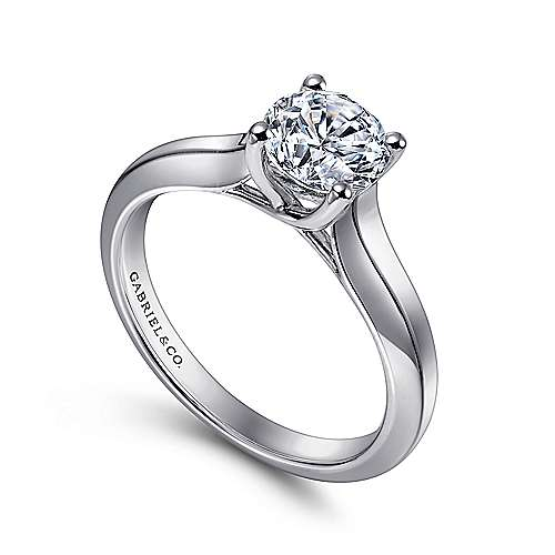 14k White Gold Solitaire Four Prong Engagement Ring angle 3