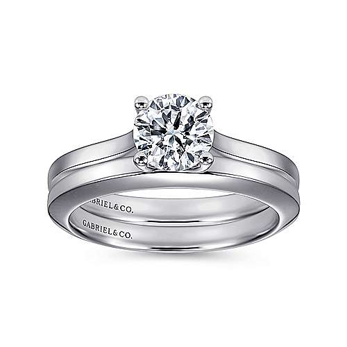 14k White Gold Solitaire Four Prong Engagement Ring angle 4