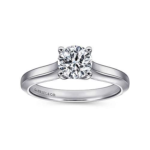 14k White Gold Solitaire Four Prong Engagement Ring angle 5