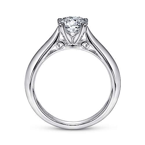 14k White Gold Solitaire Knife Edge Engagement Ring angle 2