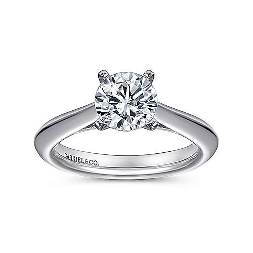 14k White Gold Solitaire Knife Edge Engagement Ring angle 5