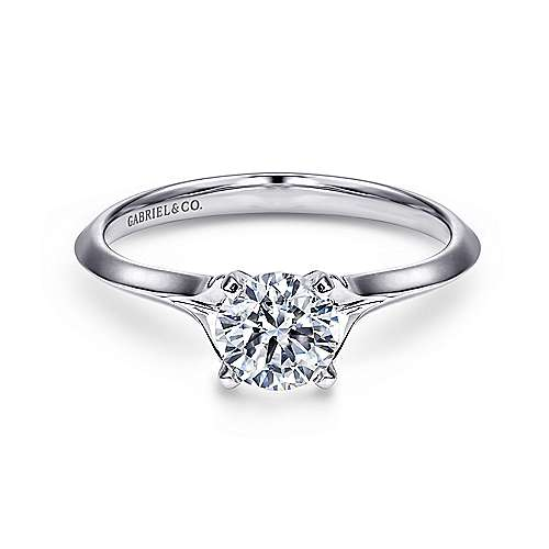 14k White Gold Solitaire Rounded Cathedral