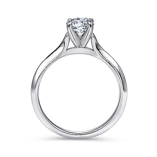 14k White Gold Solitaire Rounded Cathedral Engagement Ring angle 2