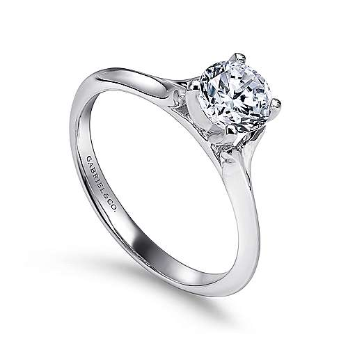 14k White Gold Solitaire Rounded Cathedral Engagement Ring angle 3