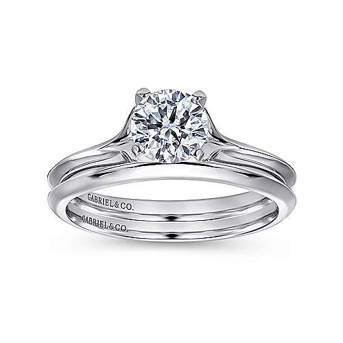 14k White Gold Solitaire Rounded Cathedral Engagement Ring angle 4