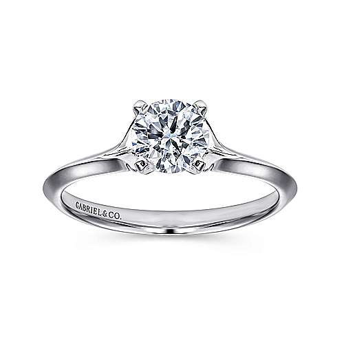 14k White Gold Solitaire Rounded Cathedral Engagement Ring angle 5