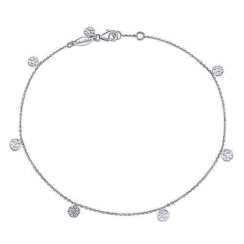 14k White Gold Souviens Chain Ankle Bracelet angle 1