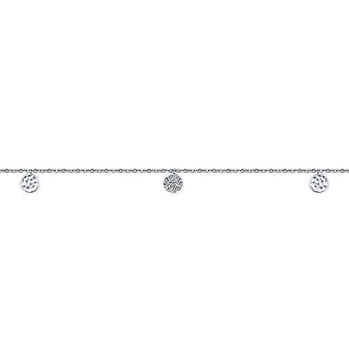 14k White Gold Souviens Chain Ankle Bracelet angle 2