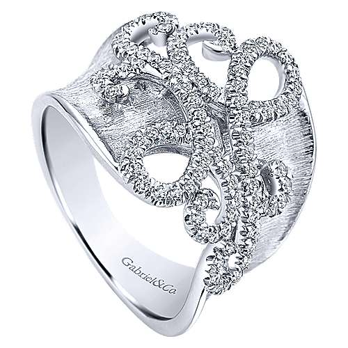 14k White Gold Souviens Twisted Ladies' Ring angle 3