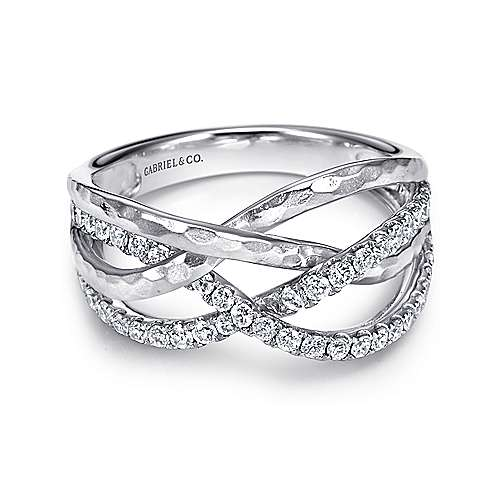 14k White Gold Souviens Wide Band Ladies' Ring angle 1