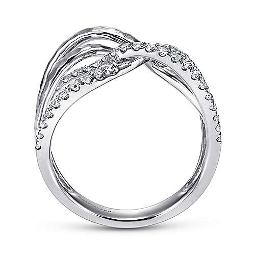 14k White Gold Souviens Wide Band Ladies' Ring angle 2