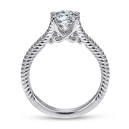 14k White Gold Split Shank Engagement Ring angle 2