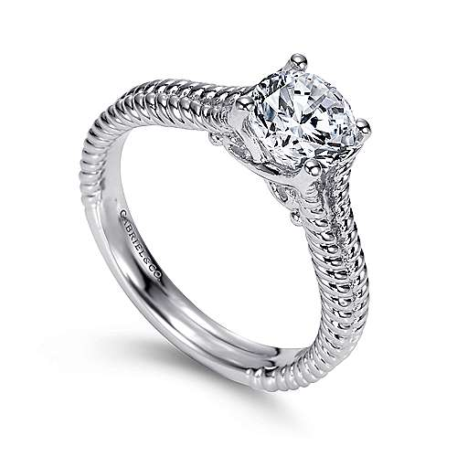 14k White Gold Split Shank Engagement Ring angle 3