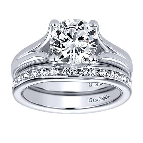 14k White Gold Split Shank Engagement Ring angle 4