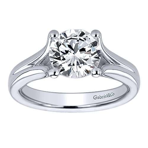 14k White Gold Split Shank Engagement Ring angle 5