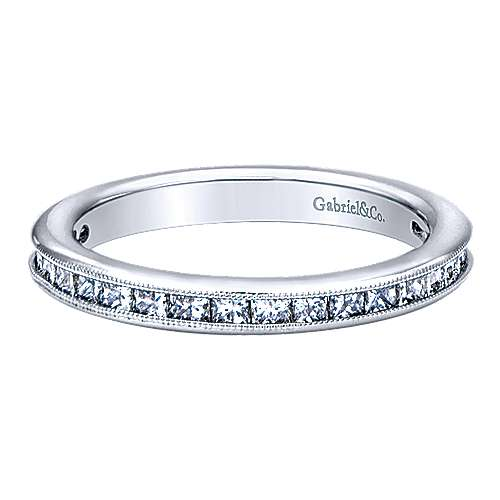 14k White Gold Stackable Anniversary Band angle 1