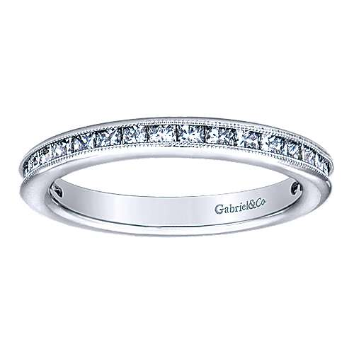 14k White Gold Stackable Anniversary Band angle 4