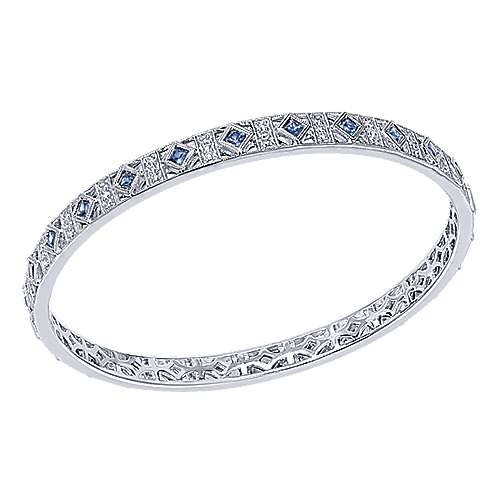 14k White Gold Stackable Bangle angle 2
