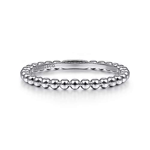 Gabriel - 14k White Gold Stackable Beaded Edge Ladies Ring