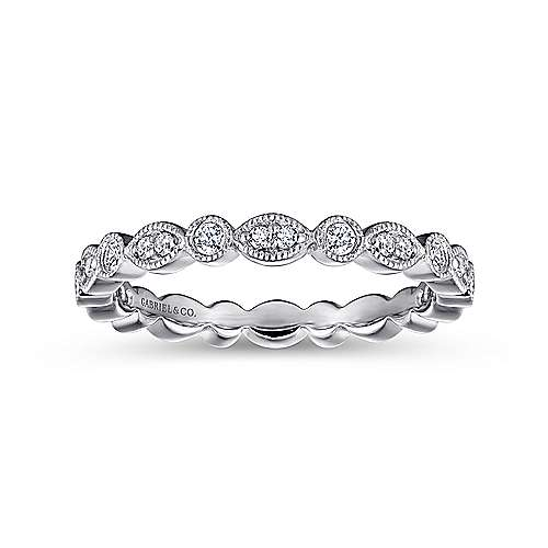 14k White Gold Stackable Eternity Stackable Ladies' Ring angle 4
