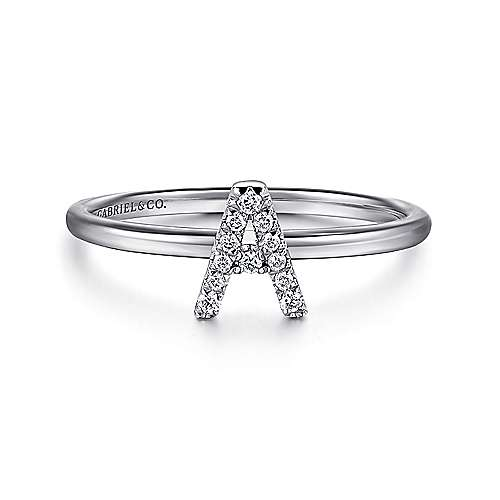 Gabriel - 14k White Gold Stackable Initial Ladies' Ring