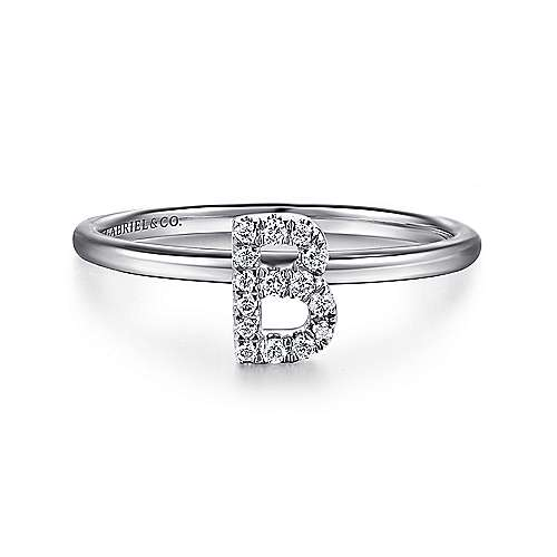 14k White Gold Stackable Initial Ladies' Ring