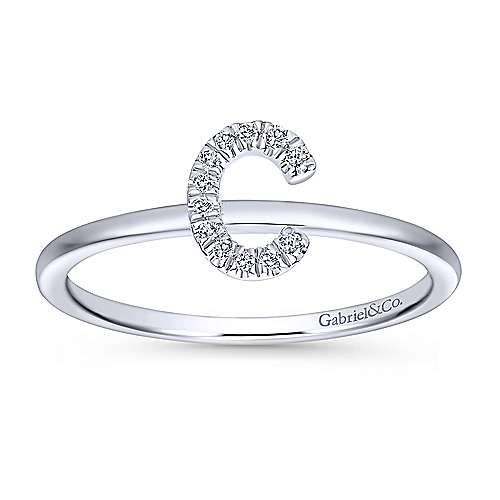 14k White Gold Stackable Initial Ladies' Ring angle 4