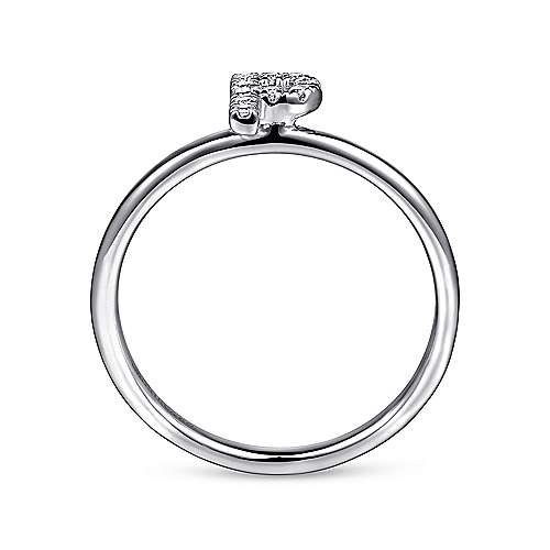 14k White Gold Stackable Initial Ladies' Ring angle 2