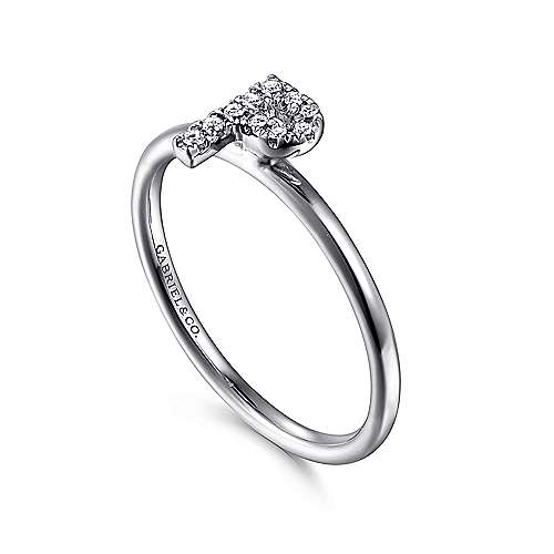 14k White Gold Stackable Initial Ladies' Ring angle 3