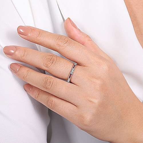 14k White Gold Stackable Ladies' Ring angle 5