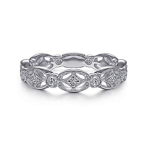14k White Gold Stackable Ladies' Ring angle 1
